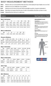 Jerzees Size Chart